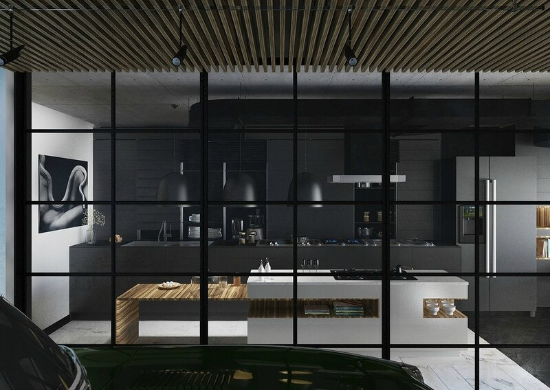 Black-framed-kitchen-block-square-windows-all-black-cabinetry