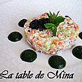 Tartare de legumes et petits dômes de gelées d'épinards