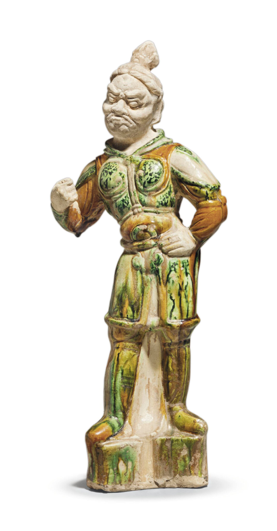 A sancai-glazed pottery figure of a lokapala, Tang dynasty (618-907)