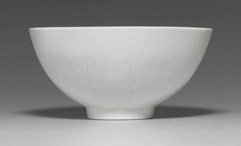 An Early Ming White-Glazed Anhua-decorated Bowl, Lianzi wan, Yongle period (1403-1425)