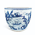 A massive blue and white jardinière, kangxi period (1662-1722), with cyclical date corresponding to 1717