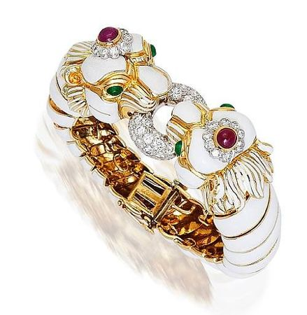 An_enamel__diamond__ruby_and_emerald_bangle_bracelet__David_Webb
