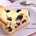Gâteau au fromage blanc et aux mûres.