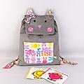 Sac à dos personnalisé Agathe sac chat fille gris rose rentrée école maternelle cadeau bébé personnalisé