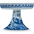 A rare large blue and white 'dragon' stem dish, qianlong six-character seal mark in underglaze blue in a line and of the period