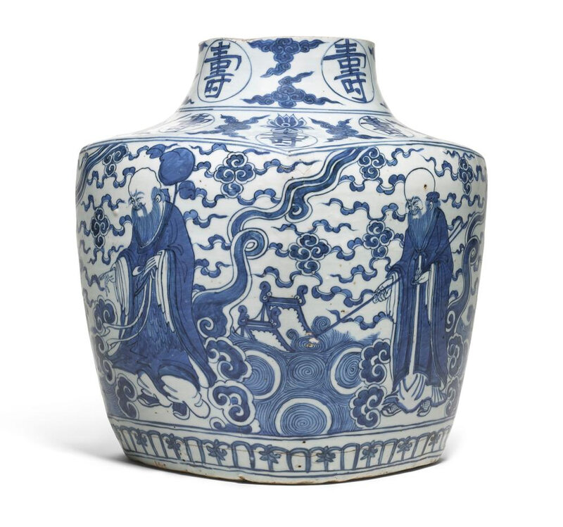 A blue and white 'Immortals' square jar, Ming dynasty, Jiajing period (1522-1566)