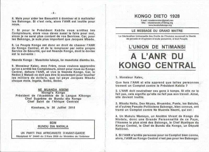 A L'ANR DU KONGO CENTRAL a