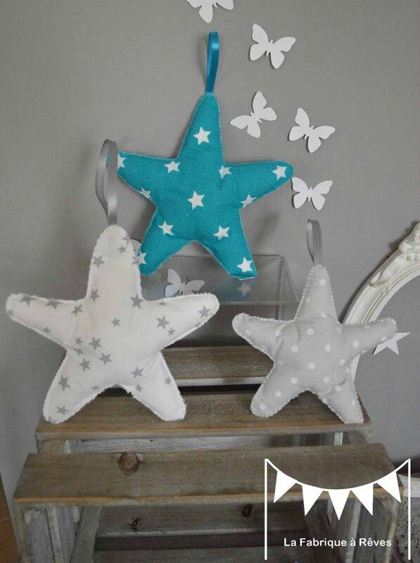 3 étoiles à suspendre accrocher bleu turquoise blanc gris - décoration chambre bébé turquoise gris blanc étoiles