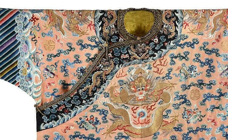 A rare embroidered Imperial apricot ground twelve symbols dragon robe, jifu, 19h century5