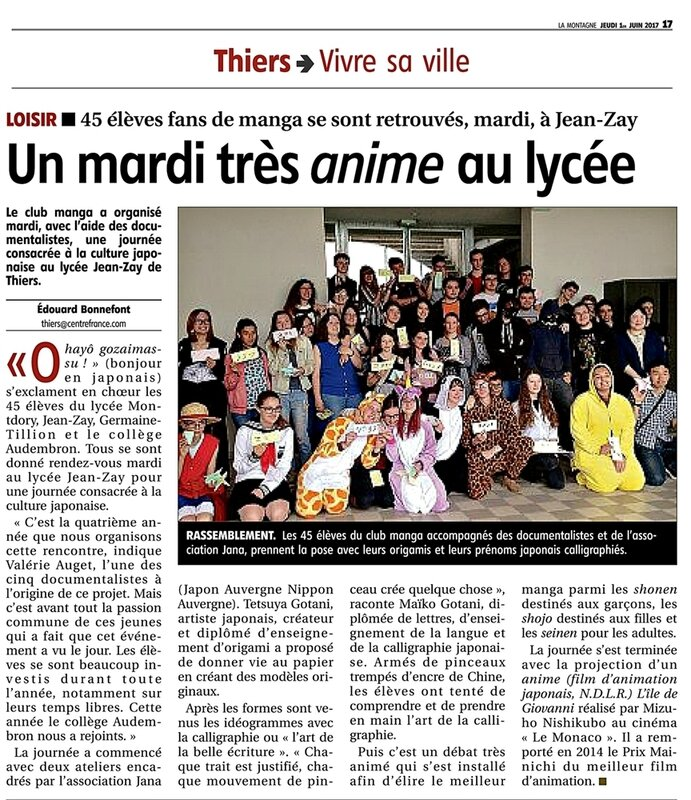 article journal Montagne lycee-Jean Zay Thiers 01062017