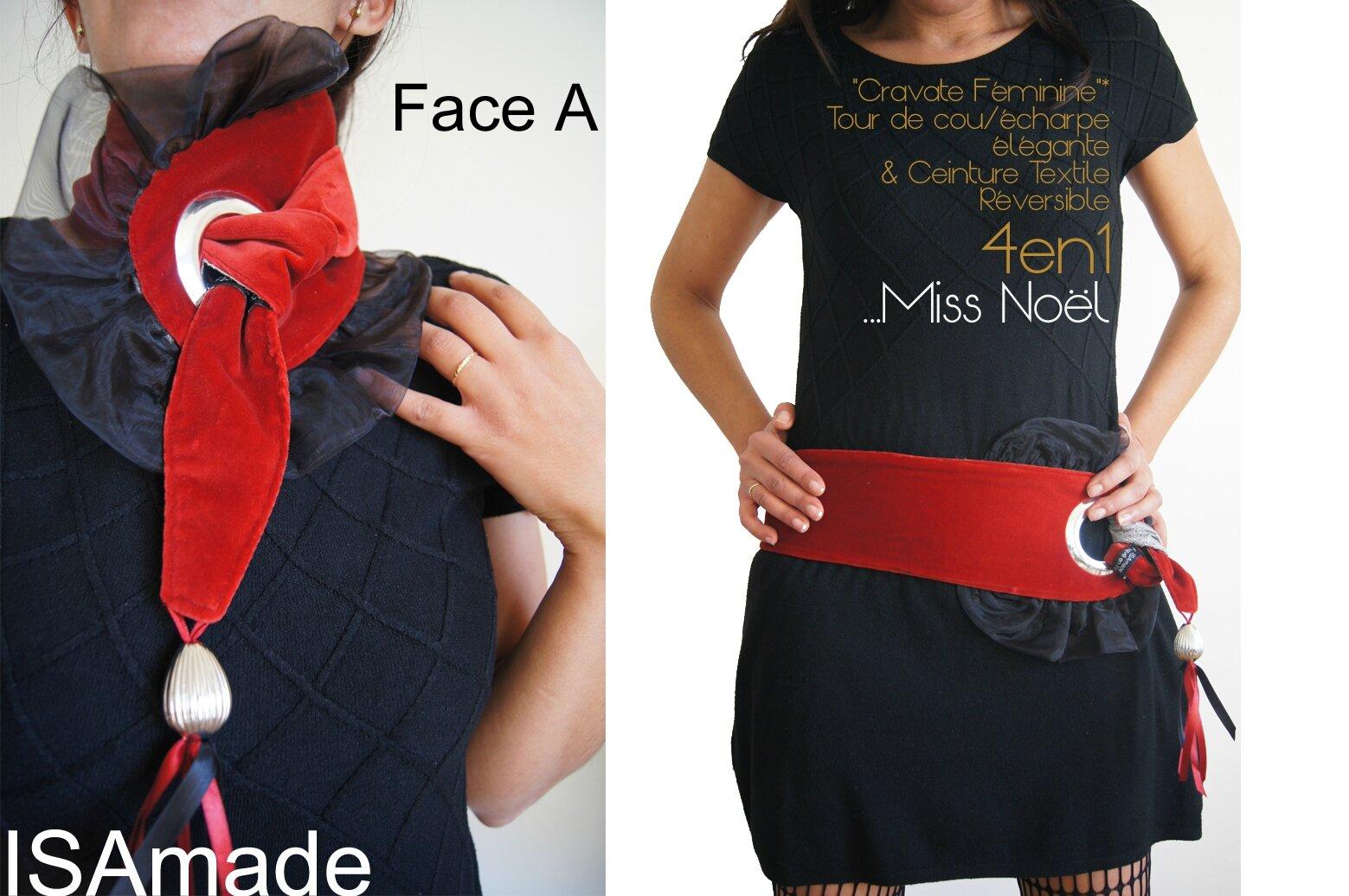 Cravate Ceinture en velours Rouge et Imprimé gris pour les Fêtes