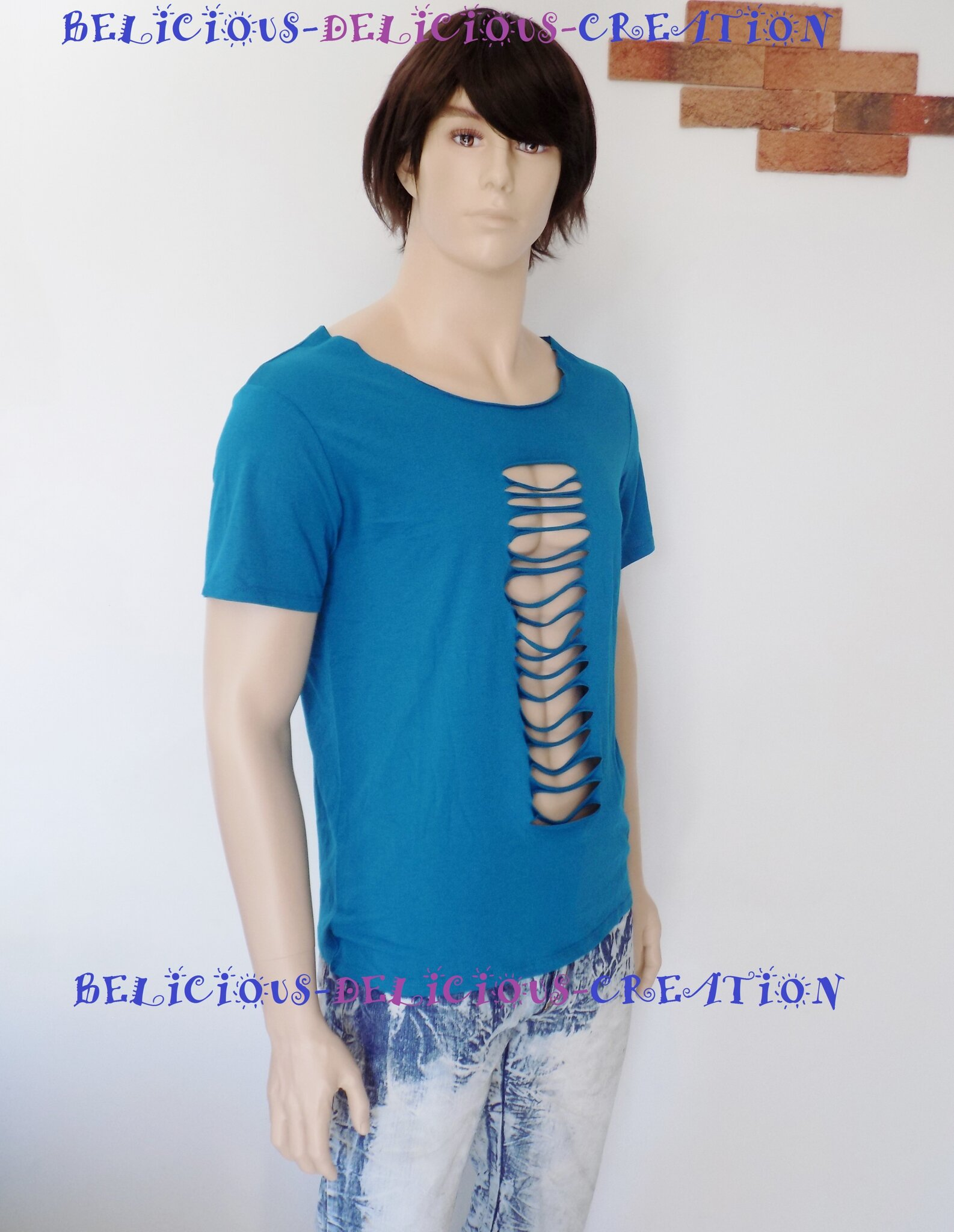 t-shirt for men blue slashed b