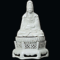 A rare white azure porcelain guanyin. china, ming dynasty, 17th century