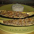 Courgette farcie au jambon , champignon et ricotta pour 2 personne 4 pp