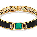 An emerald, diamond and enamel collar, by marina b, circa 1990