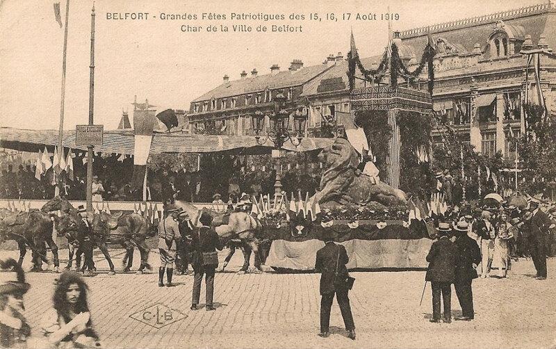 533 1919 08 15 Belfort CPA Fêtes patriotiques Place Corbis Char Ville Belfort