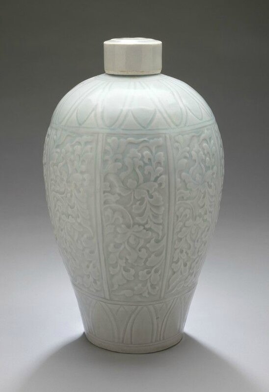 Lidded Prunus Vase (Meiping) with Lotus Sprays, Qingbai ware, Southern Song dynasty, 1127-1279