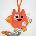 Hibou attache tétine gris orange