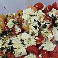 Crevettes à l'ail,féta et tomates