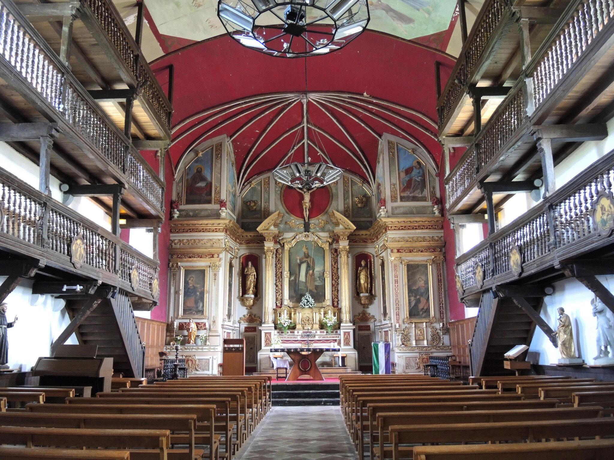 Mendionde, église saint-Cyprien, intérieur, ensemble (64)