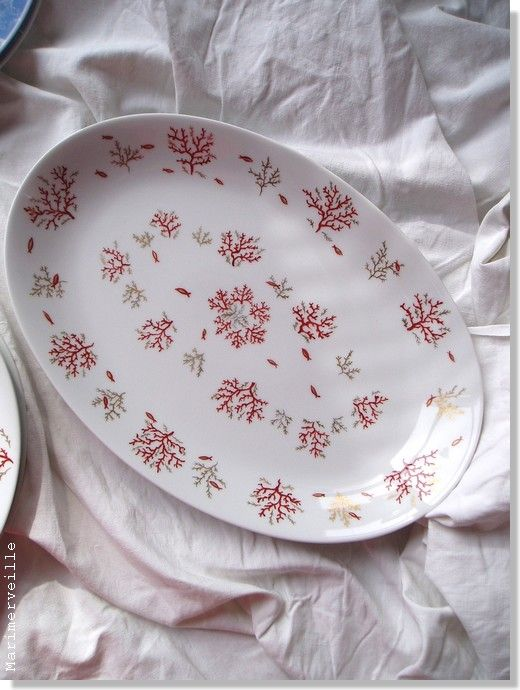 Plat ovale service or et corail