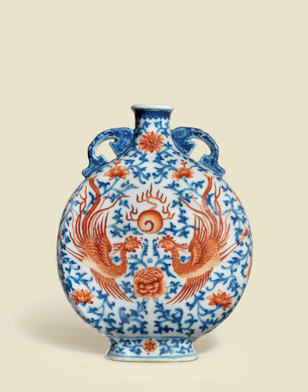 A very rare underglaze-blue and iron-red-decorated 'Phoenix' moon flask, baoyueping, Qianlong period (1736-1795)