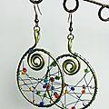 Boucles d'oreille en métal et perle de verre