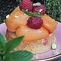 Tartelette psychédélique à l'estragon du mexique, aux abricots rôtis et aux framboises pour voir la vie en rose!