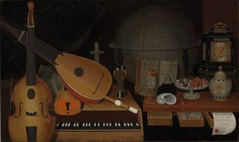 . Arnold (active in England, c. 1682) A vanitas still life with musical instruments, a globe and other objects. Photo: Christie's Images Ltd 2010