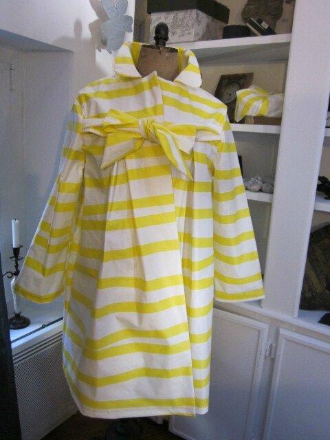Ciré AGLAE en coton enduit à rayures vagues jaune et blanc (2)