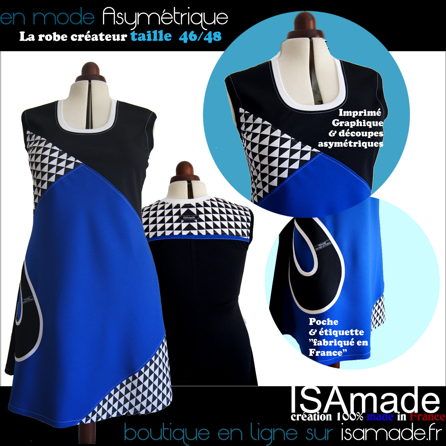 Robe Asymétrique made in france ISAmade grande taille
