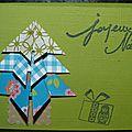 27. vert et bleu - sapin en origami et cadeau