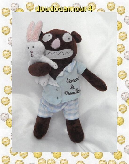 Doudou Peluche Léonard Le Trouillard Pyjama Bleu Et Son Lapin 100DRINE SENTOU EDITION