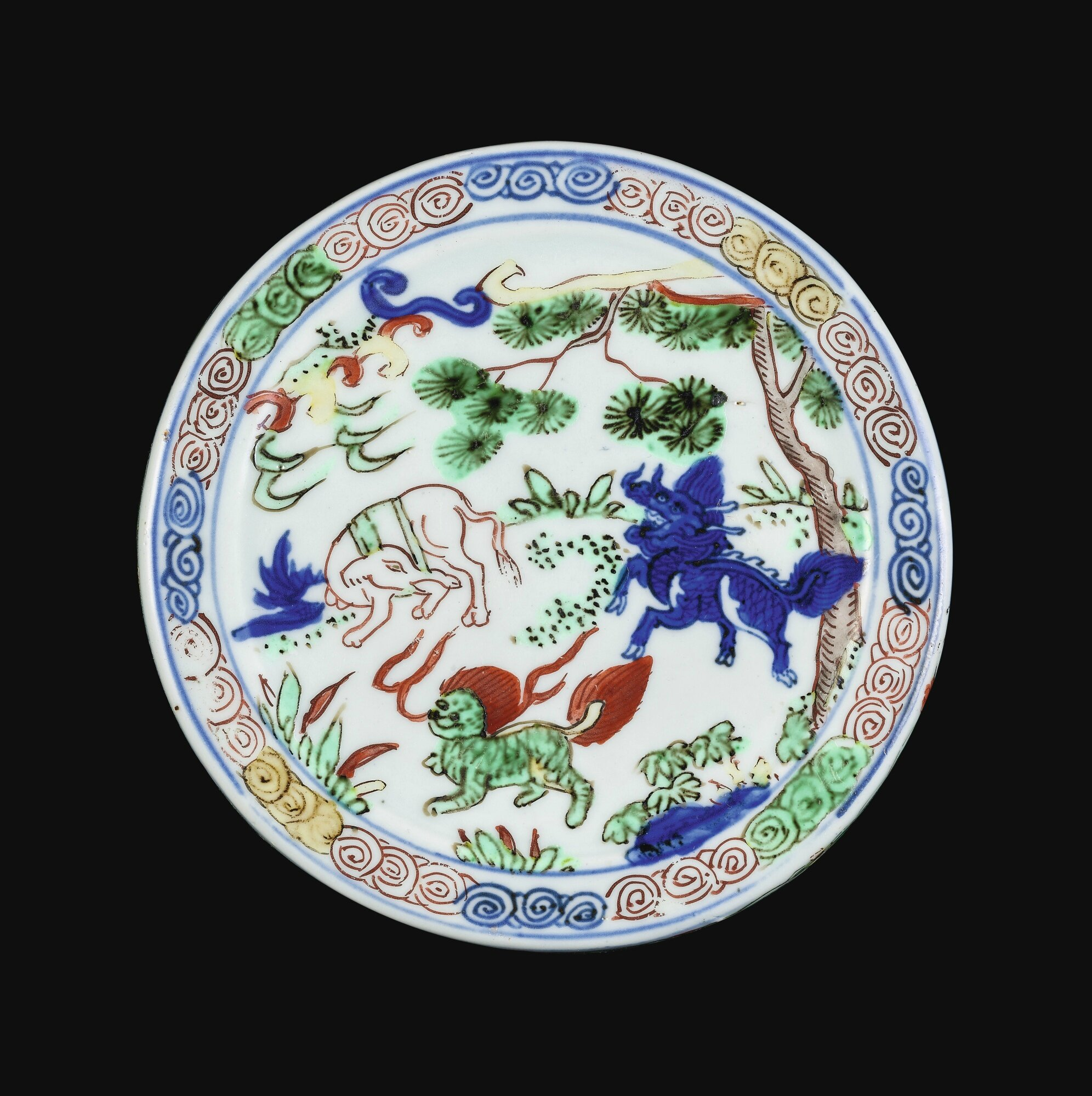 An outstandingand rare wucai 'mythical beast' jar and cover, Mark and period of Wanli (1573-1619)