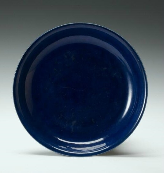 Plate with blue glaze, Ming dynasty, Jiajing six-character mark within double-circles and of the period (1522-1566)