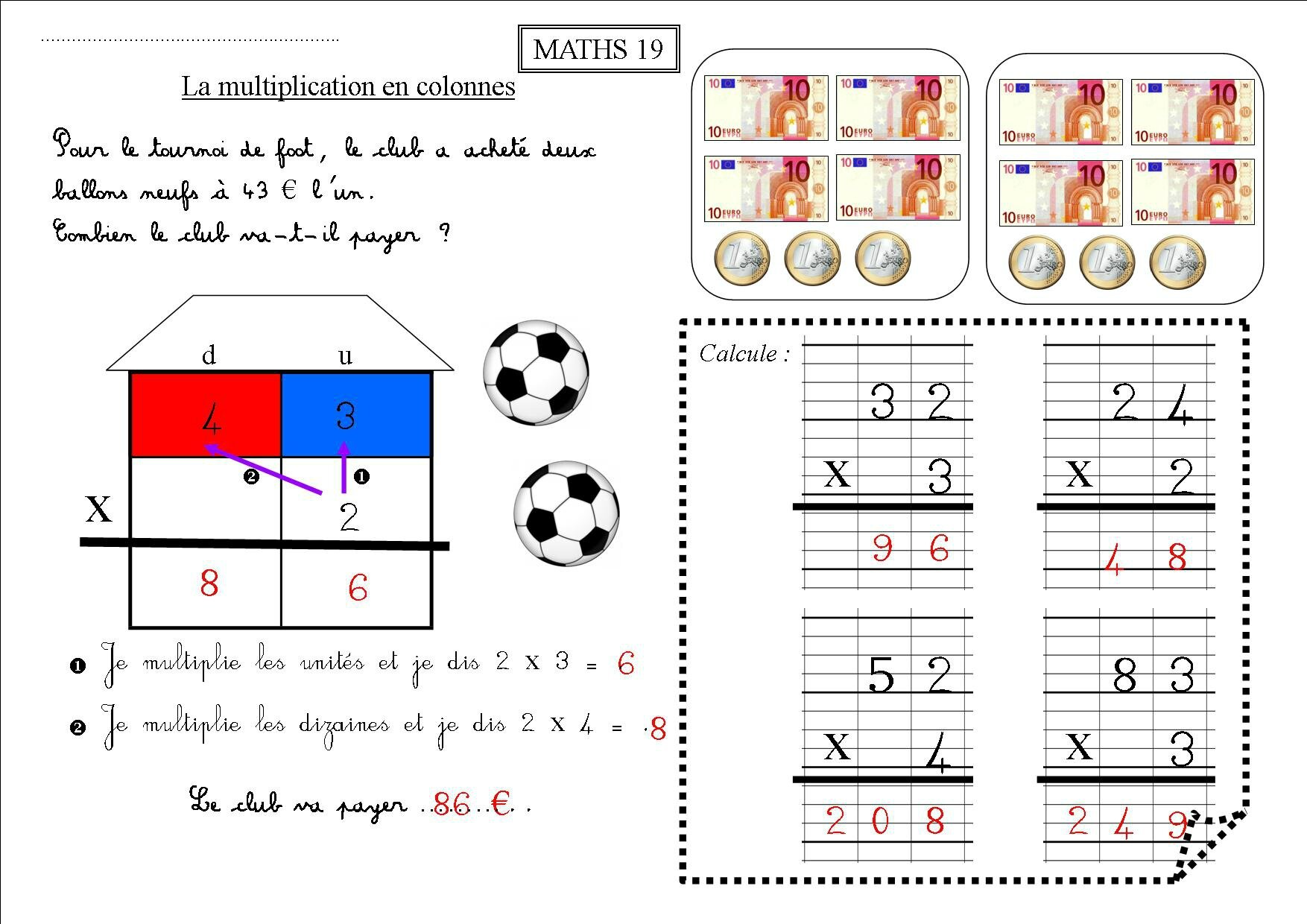 Maths 19 et maths 20 ce1 la multiplication pos e la - Exercices sur les tables de multiplication ce ...