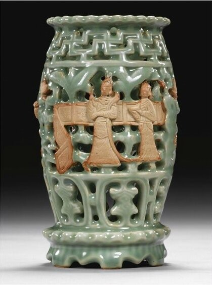 A rare 'Longquan' celadon and biscuit lantern, Ming dynasty, 15th century