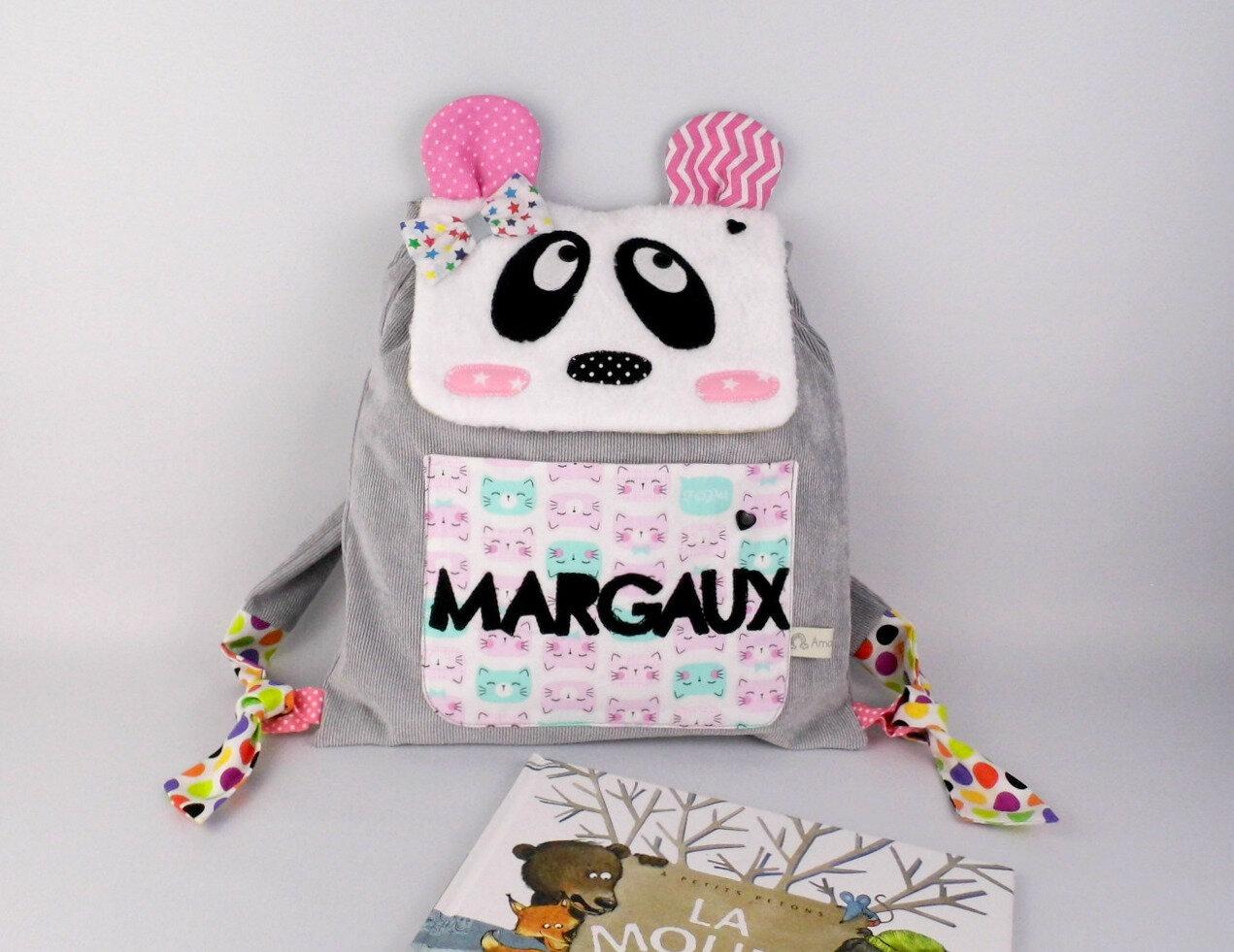 Sac à dos enfant maternelle personnalisé prénom Margaux panda sac fille girly école maternelle sac bébé crèche mini sac à langer gris rose panda chat