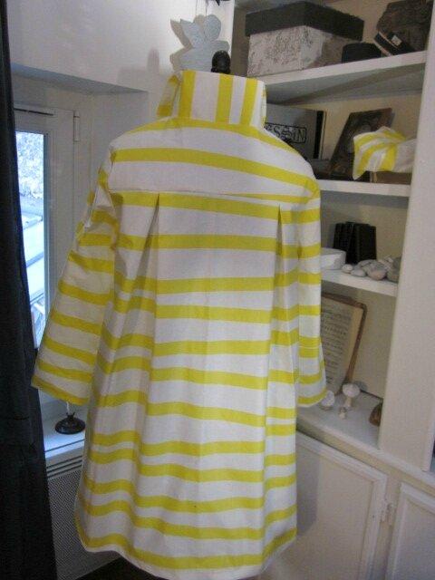 Ciré AGLAE en coton enduit à rayures vagues jaune et blanc (8)