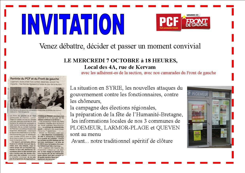 invitation réunion mensuelle octobre 2015