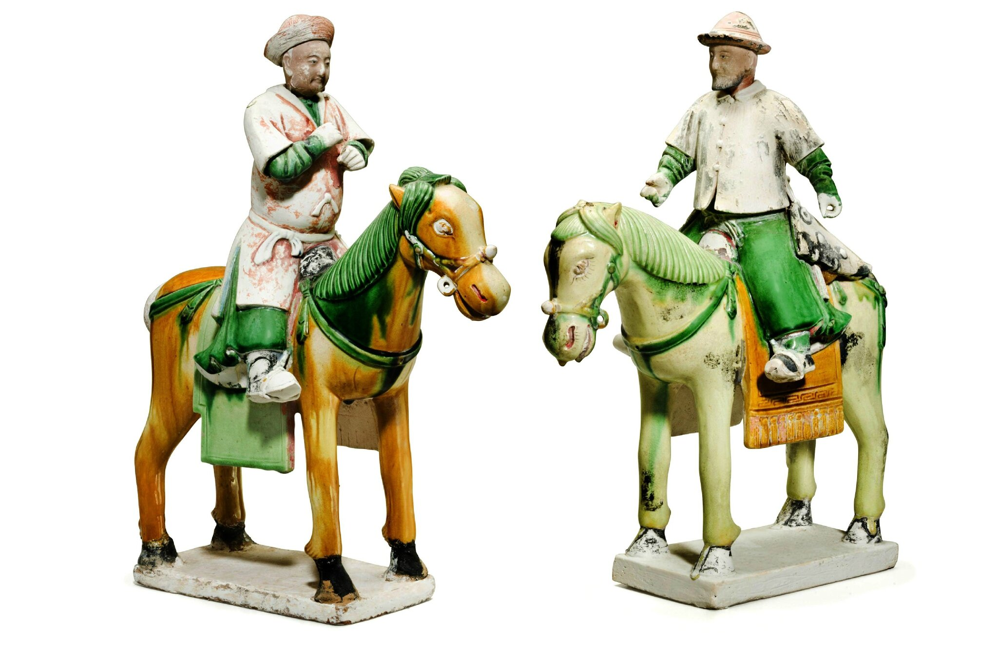 Two sancai-glazed figures of equestrians, Ming Dynasty (1368-1644)