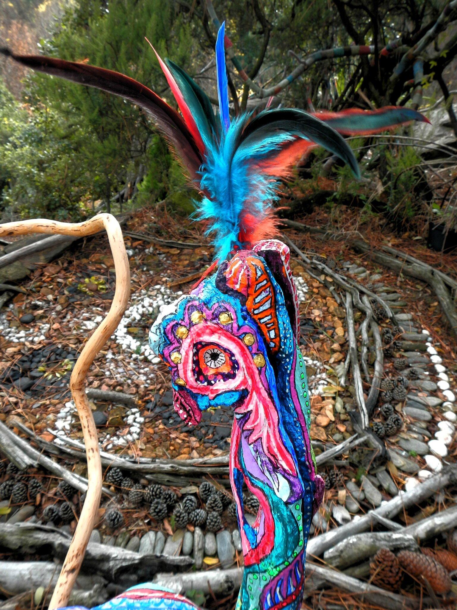 sculpture totem coq