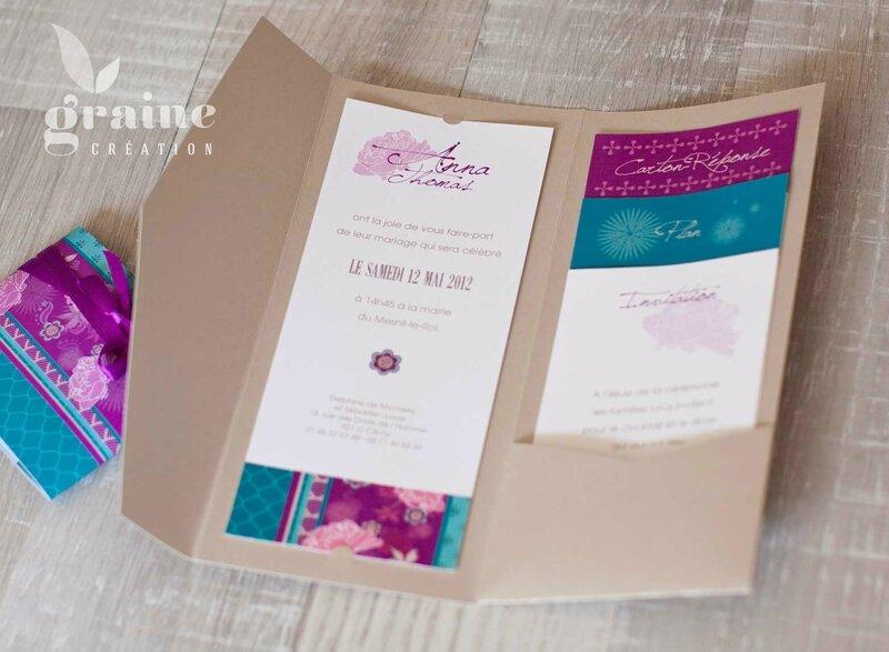 les cartons d'invitation du faire-part japonais fuschia
