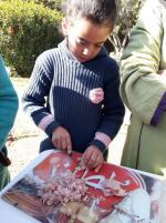 Hajar découpe les morceaux de viande de poulet