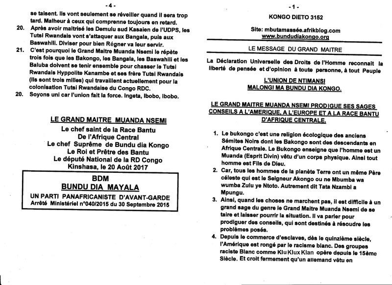 LE GRAND MAITRE MUANDA NSEMI PRODIGUE DE SAGES CONSEILS a