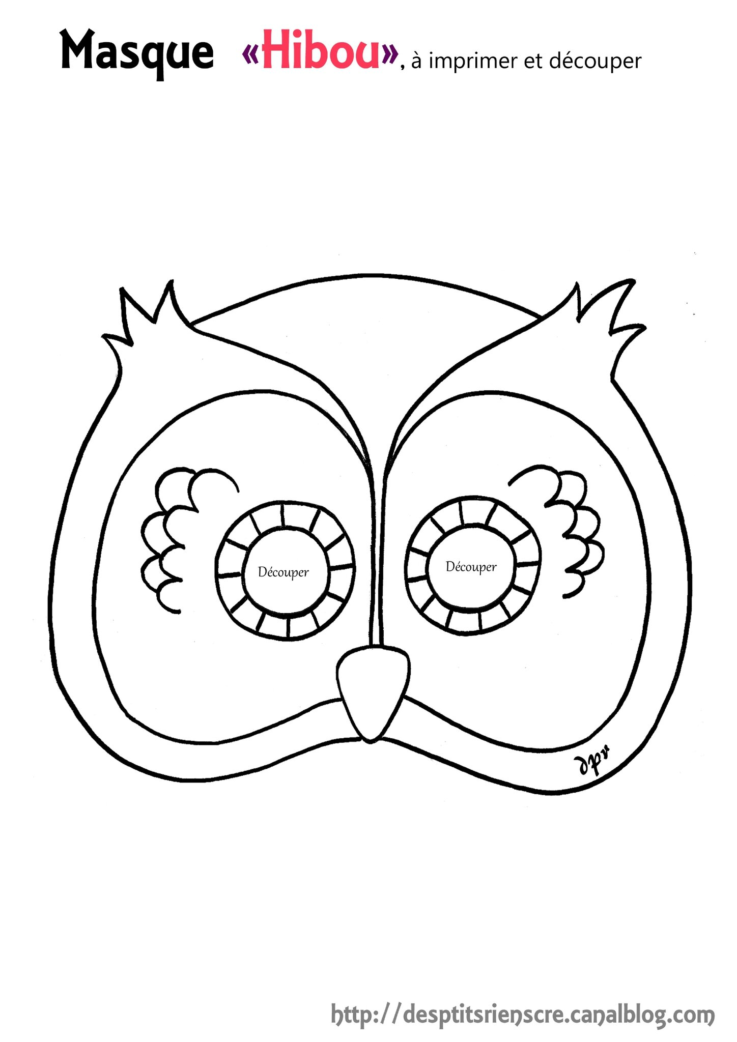 masque hibou copie à colorier