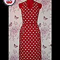Robe Marylin jupe droite gros coeurs blanc/rouge T36 commande