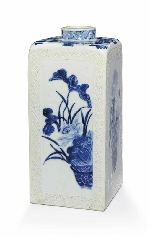 A blue and white gin bottle, Kangxi period (1662-1722)