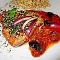 Steak de la mer en sauce tomate/soja et herbes aromatiques