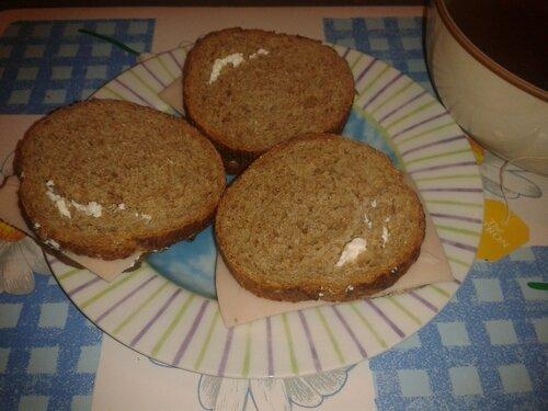 Petit déj:7pp1/2= pain seigle 100gr+1 carré frais 0% nature+ 1 tr jambon volaille